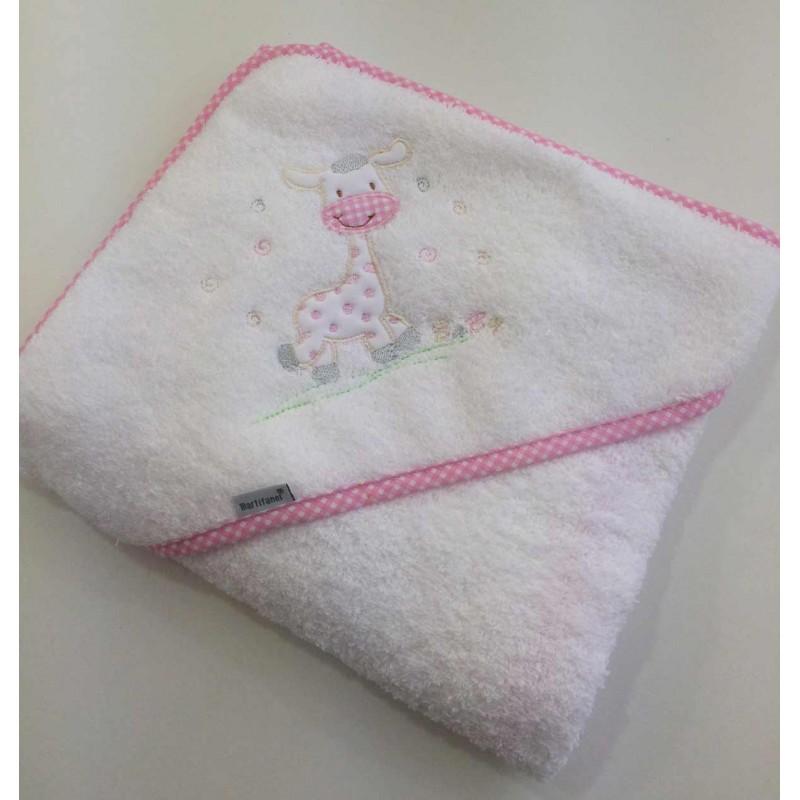 Capa de ba o beb con jirafa bordada y personalizada con - Capas de bano bebe personalizadas ...